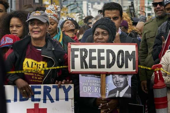 Louise Johnson, left, and Louise Johnson, marched in the annual Dr. Martin Luther King Jr. Day march on Monday, Jan. 20, 2020, in San Francisco, Calif.