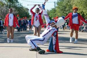 "The Kashmere High School marching band makes led up San Jacinto Street during the 26th Annual MLK Grande Parade, Monday, Jan. 20, 2020, in Midtown Houston. This year's theme for the parade presented by the MLK Parade Foundation is ""The Color of Unity."""