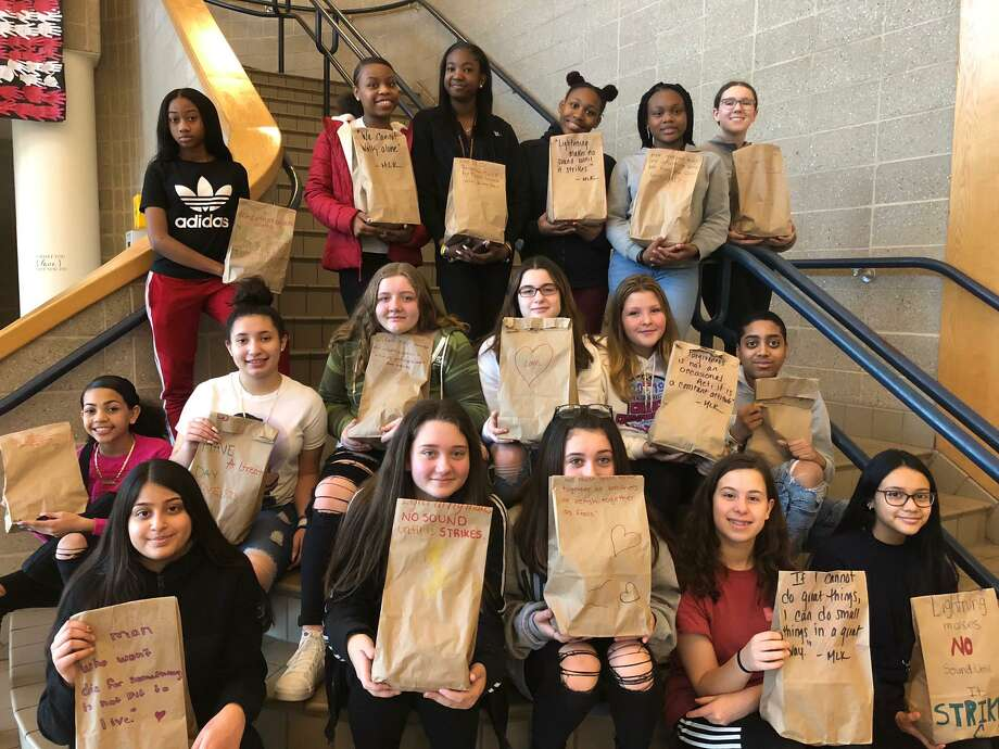 "The Shelton Intermediate School Team Corp put together ""grab-and-go"" bags for those staying at Spooner House. The bags were decorated with inspirational quotes from Dr. Martin Luther King, Jr., as well as their own words to spread the message of kindness. Photo: Brian Gioiele / Hearst Connecticut Media / Connecticut Post"