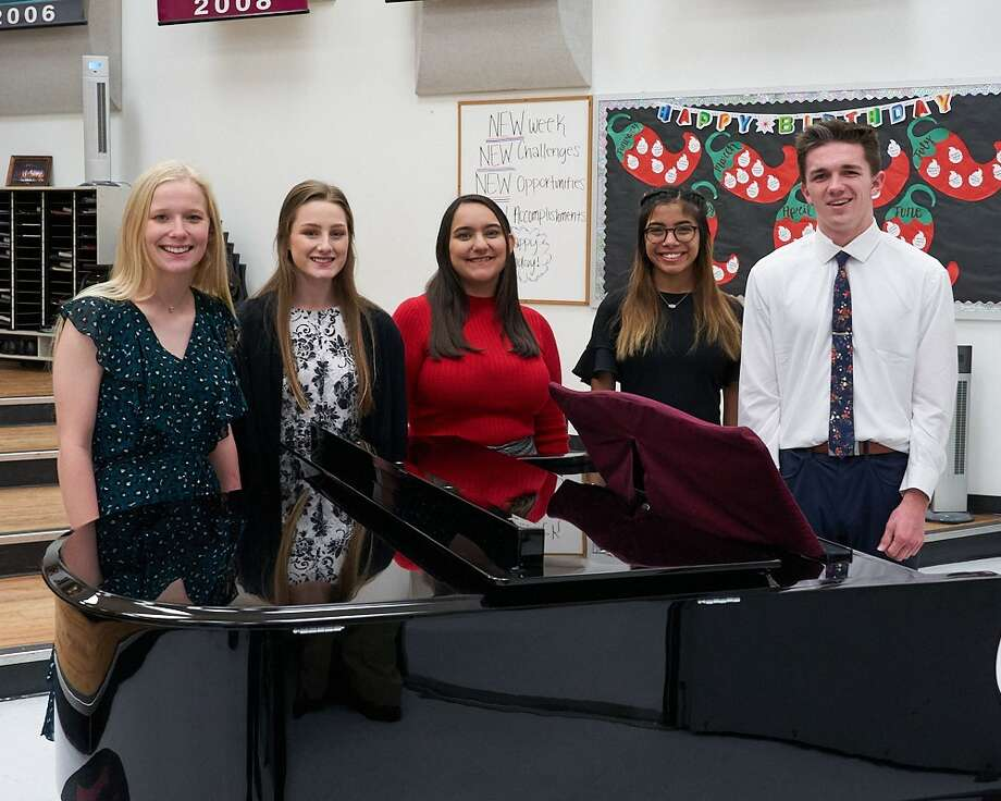 Lee High School choir students Tana Pollock, from left, Hailey Arnold, Bethany Gonzalez, Meleah Heredia and Jacob Ross will be performing at the 100th annual Texas Music Educators Association convention next month in San Antonio.  Photo: Courtesy Photo