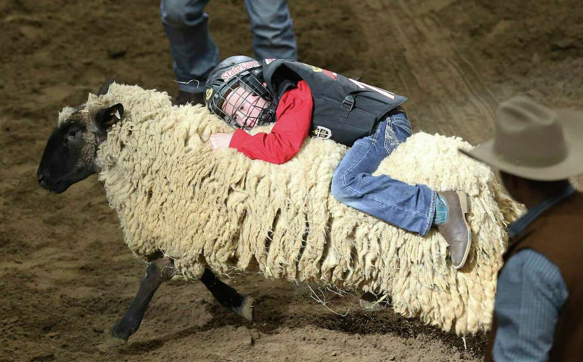 Brody Gann hangs on tight during the mutton busting event at the 2019 San Antonio Stock Show & Rodeo. A new venue means many more kids can compete this year.