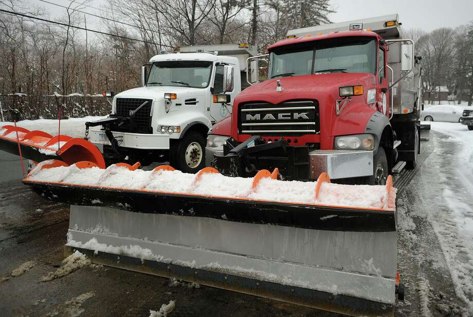 A 2014 file photo showing a pair of plow trucks loaded with salt at Stratford's Department of Public Works. Photo: Brian A. Pounds / Brian A. Pounds / Connecticut Post
