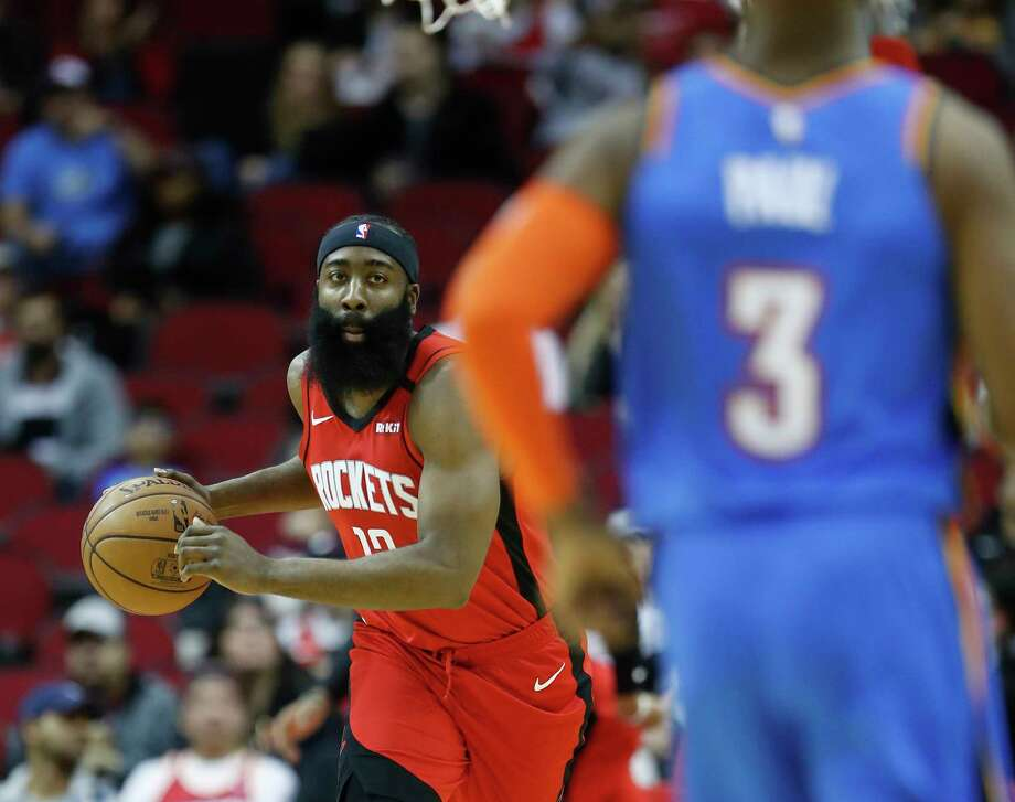 Houston Rockets guard James Harden (13) gets a rebound during the first half of an MBA basketball game at Toyota Center, in Houston, Monday, Jan. 20, 2020. Photo: Karen Warren, Staff Photographer / © 2020 Houston Chronicle