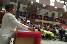Speaker Virginia T. Spell, interim president and CEO of the Urban League of Southern Connecticut, address a crowd of nearly 200 people at the 20th annual Rev. Dr. Martin Luther King Jr. Community Breakfast in the Branford High School cafeteria Jan. 20, 2020.