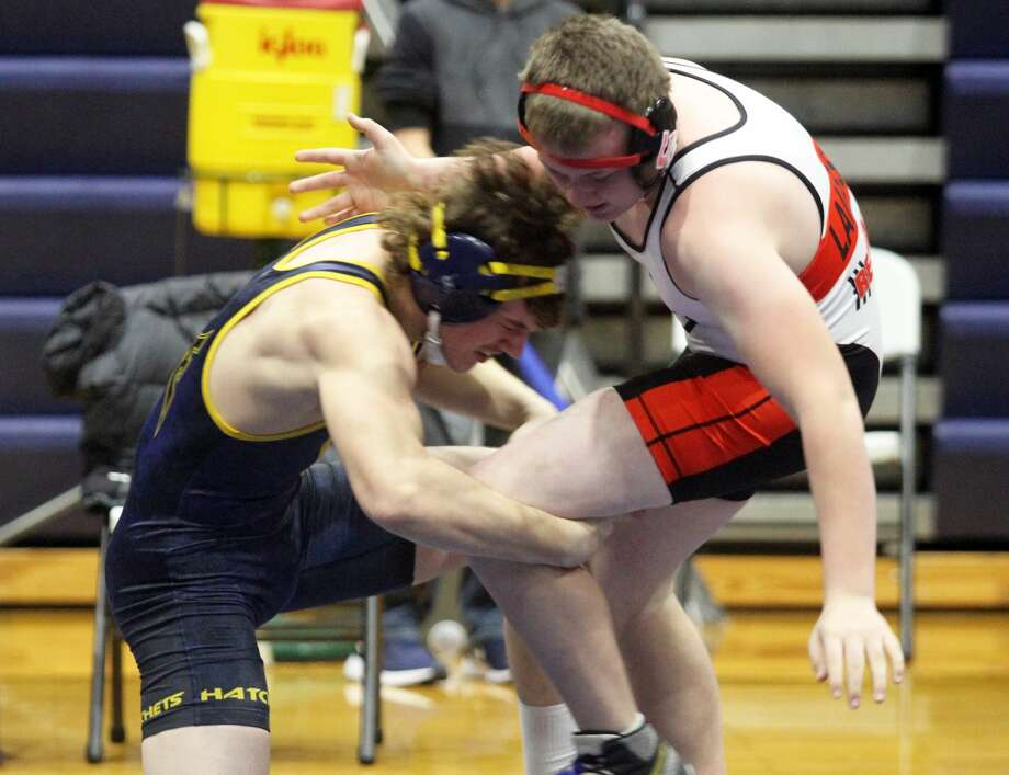 Bad Axe's Cody Bailey competes during a recent wrestling meet in this file photo. Bailey finished third in the 189-pound weight class at the 33rd Orange and Blue Classic in Lincoln Park over the weekend. (Huron Daily Tribune, File) Photo: Tribune File Photo