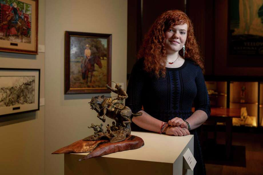 Brenna Richardson, 17, of New Braunfels, shows her latest award-winning sculpture Spooked at the Briscoe Western Art Museum. The work captured Best in Show in the San Antonio Stock Show & Rodeo's Western Art Show and Contest. Photo: Josie Norris /San Antonio Express-News / **MANDATORY CREDIT FOR PHOTOG AND SAN ANTONIO EXPRESS-NEWS/NO SALES/MAGS OUT/TV