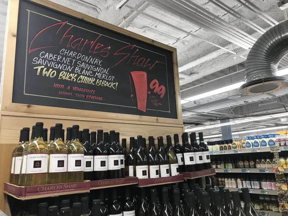 "The Trader Joe's franchise at 4th and Market in downtown San Francisco is among the locations now selling Charles Shaw wine — better known as ""Two Buck Chuck"" — for $1.99 again. The grocery chain attributes the slash in price to reduced packaging. Photo: Amanda Bartlett/SFGATE"