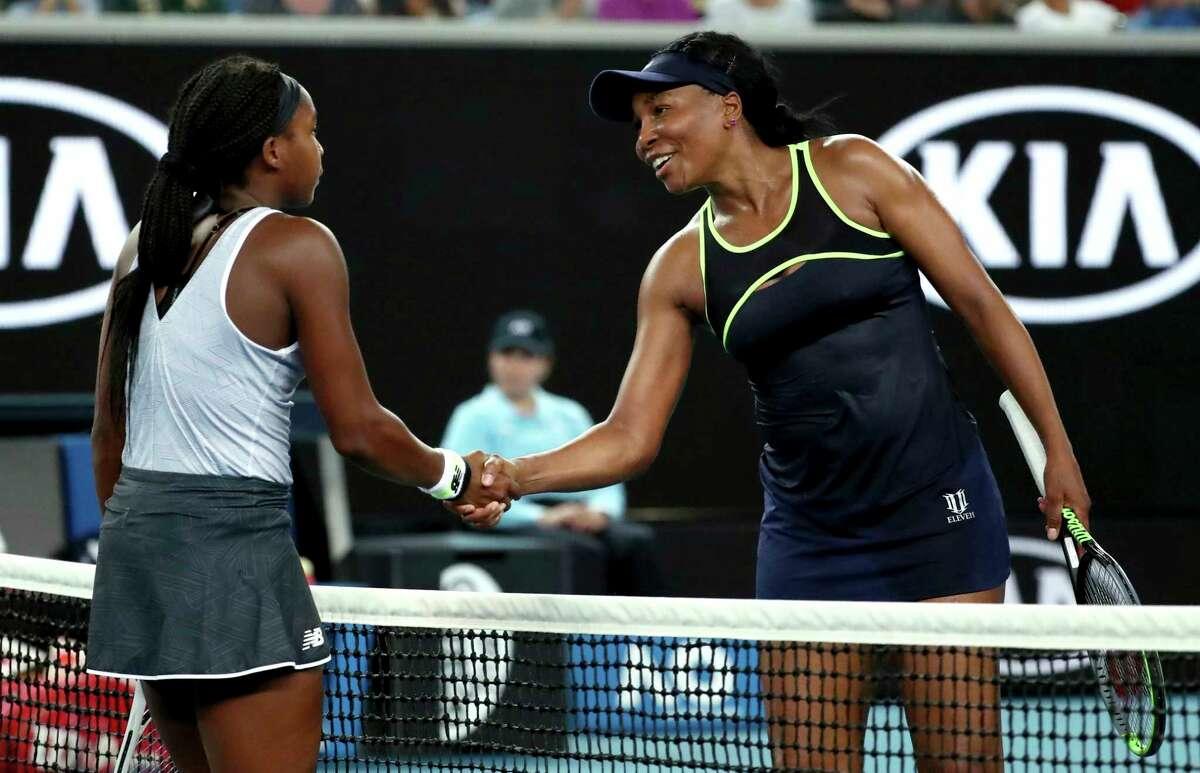 United States' Venus Williams, right, congratulates compatriot Cori