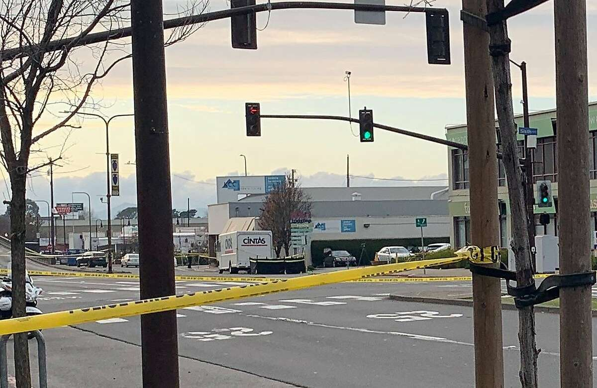 The scene at 6th Street and University Avenue in Berkeley where a driver fleeing police struck and killed a pedestrian on a sidewalk on Monday, Jan. 20, 2020.
