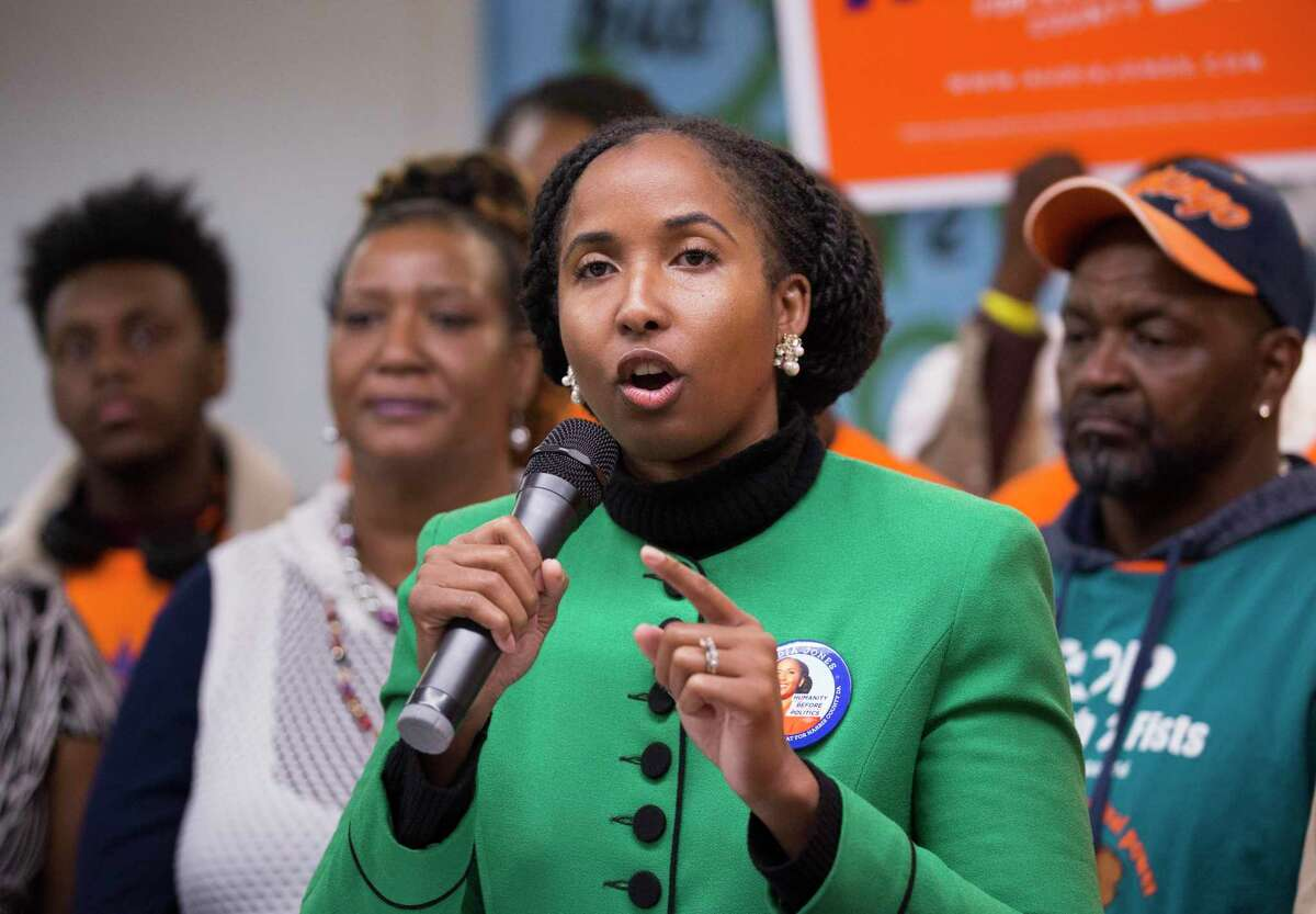 Harris County district attorney candidate Audia Jones gives a speech after the Texas Organizing Project (TOP) announced its endorsement of her during a press conference Monday, Jan. 20, 2020, at Midtown office in Houston.