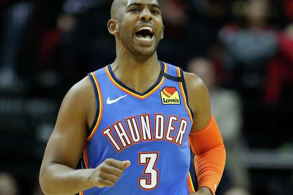 Former Rocket Chris Paul was feeling it the first half for Oklahoma City on Monday, making nine of 12 shots, including four of five five 3-pointers.