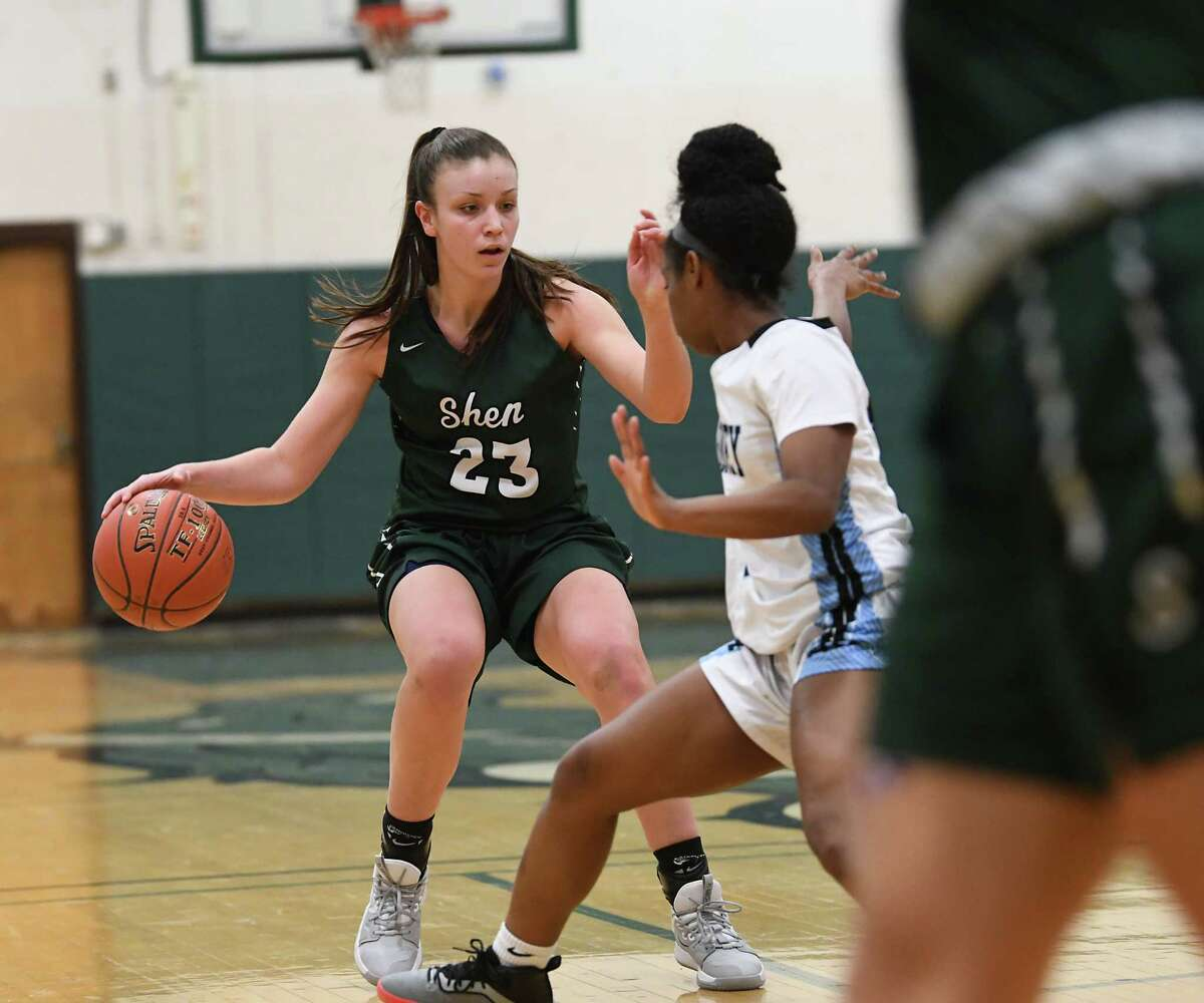 Shenendehowa's Meghan Huerter is guarded by Bishop Kearney's Kaia Goode during a game on Monday, Jan. 20, 2020 in Clifton Park, N.Y. (Lori Van Buren/Times Union)