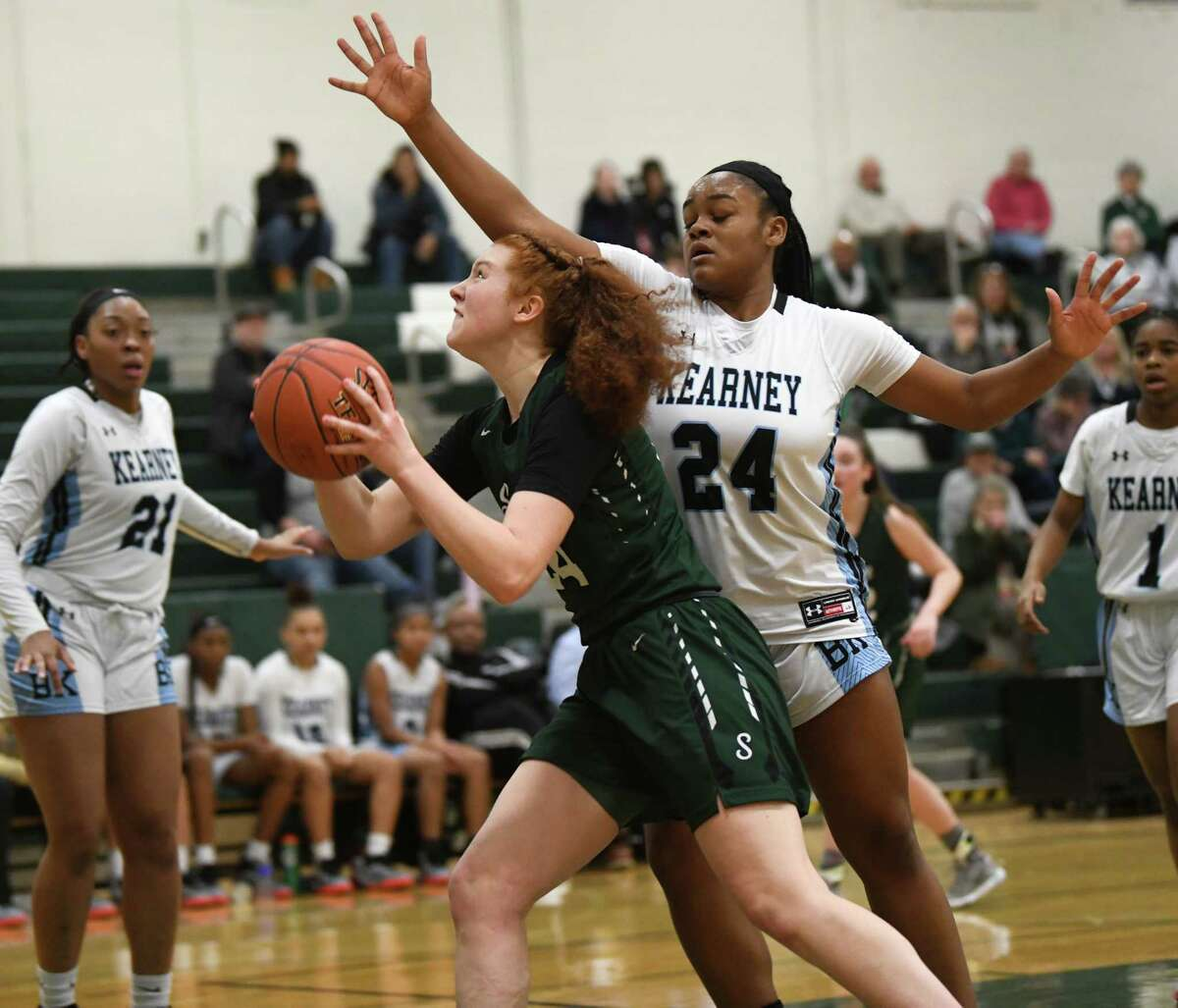 Shenendehowa's Bella Stuart drives to the basket against Bishop Kearney's Taylor Norris during a game on Monday, Jan. 20, 2020 in Clifton Park, N.Y. (Lori Van Buren/Times Union)