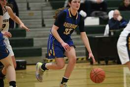 Queensbury's Hope Sullivan dribbles the ball during a game against Our Lady of Lourdes on Monday, Jan. 20, 2020 in Clifton Park, N.Y. (Lori Van Buren/Times Union)