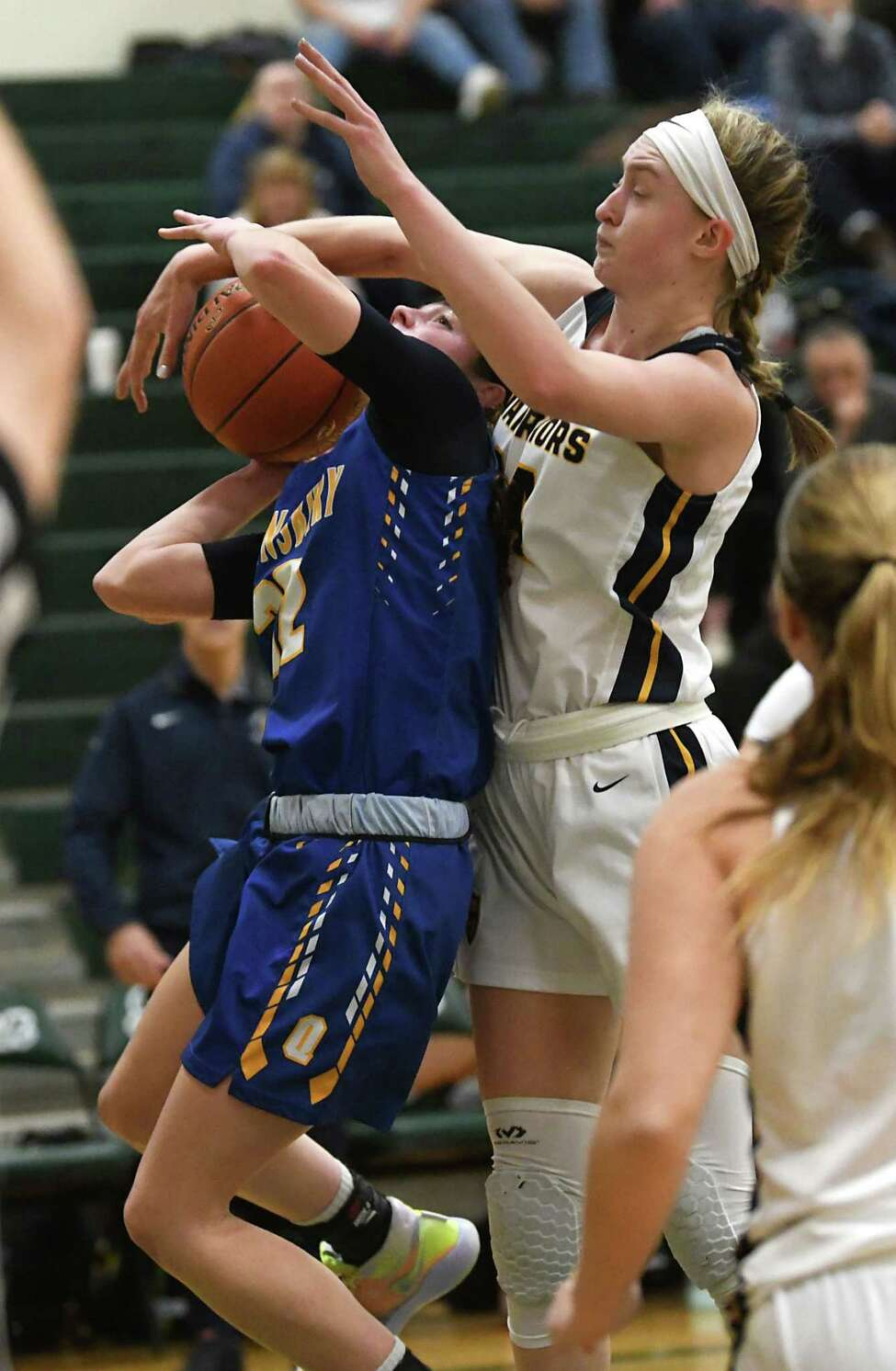 Queensbury's Hope Sullivan drives to the basket guarded by Our Lady of Lourdes' Ava Learn on Monday, Jan. 20, 2020 in Clifton Park, N.Y. (Lori Van Buren/Times Union)