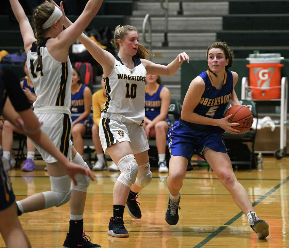 Queensbury's Hailey Ballard, right, drives to the basket during a game against Our Lady of Lourdes on Monday, Jan. 20, 2020 in Clifton Park, N.Y. (Lori Van Buren/Times Union)
