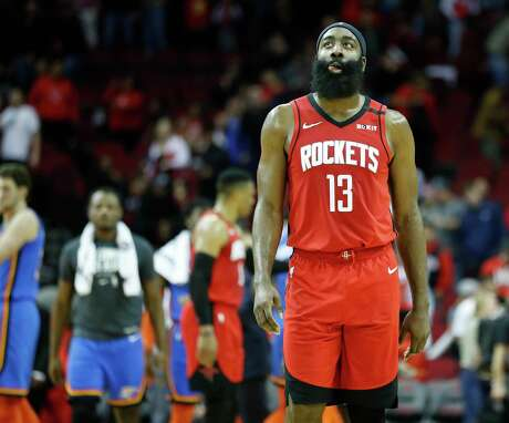 Guard James Harden leaves the court after Monday's debacle but would return to work on his shot for 25 minutes after going 1 of 17 on 3-pointers.