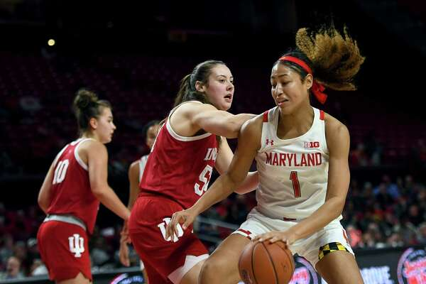 Shakira Austin finished with 22 points in Maryland's 76-62 win over Indiana at Xfinity Center January 20, 2020 in College Park, MD.