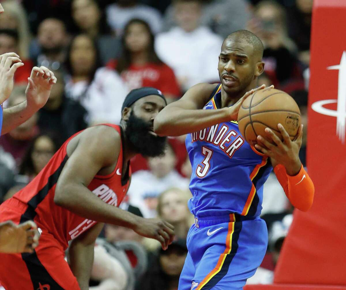 After a two-year run alongside James Harden, Chris Paul (3) has been the driving force behind a surprising Oklahoma City squad this season.