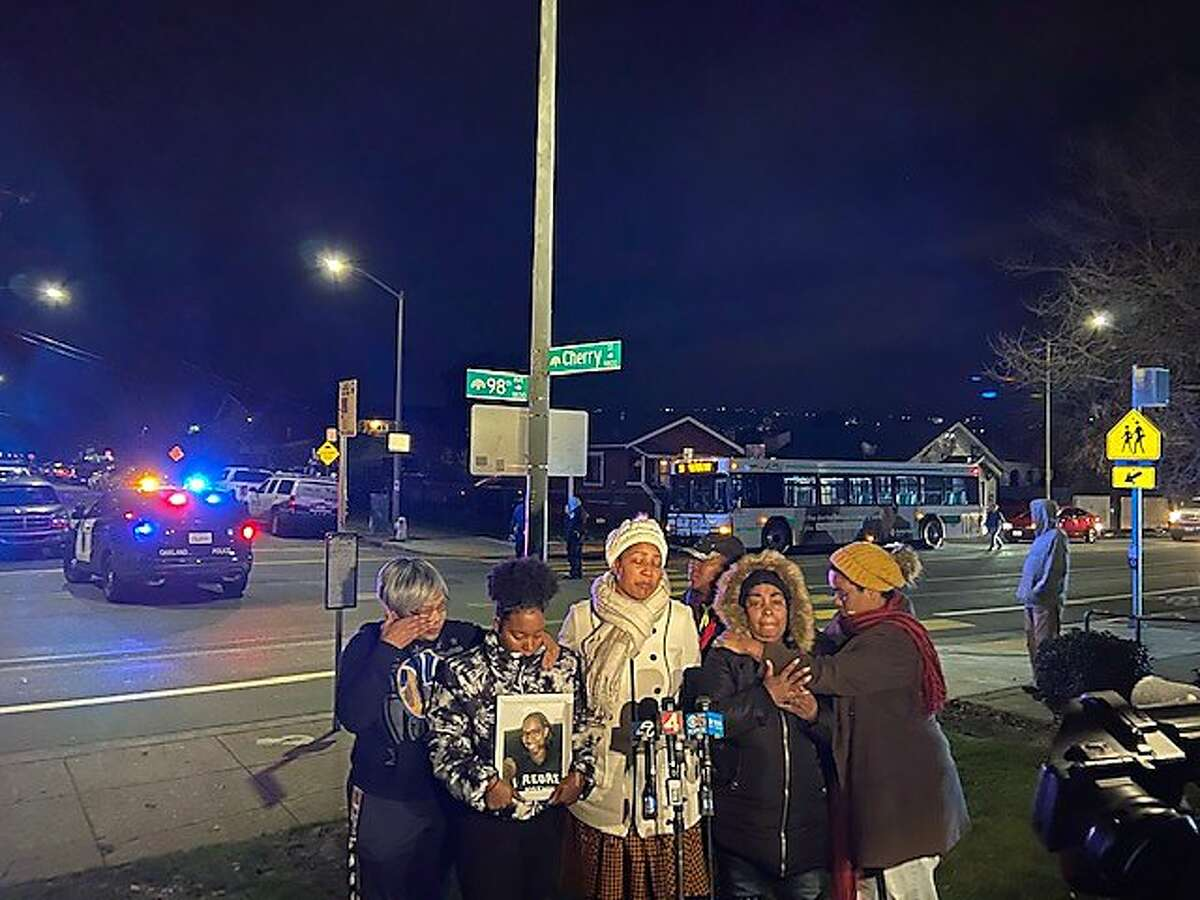 Family of Miesha Singleton hold a candlelight vigil on Jan. 20, 2020 near Oakland street where Singleton was struck and killed by a hit-and-run driver.