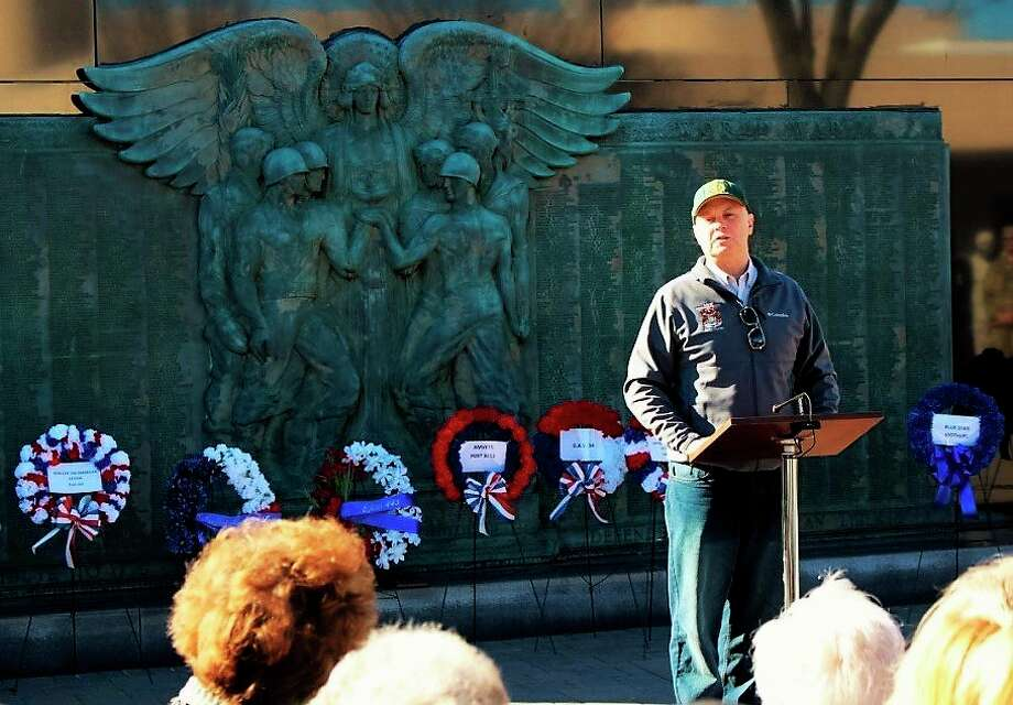 Former state Rep. Gary Glenn, R-Midland, a former member of the 1460th Transportation Co., Michigan Army National Guard, headquartered in Midland, spoke during a Veterans Day ceremony at the Midland County Veterans Memorial in 2016. (Photo provided)
