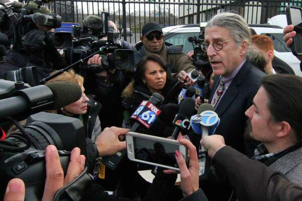 Norm Pattis, attorney for Fotis Dulos, speaks to the media at State Police Troop G in Bridgeport, Conn. Jan. 7, 2020.