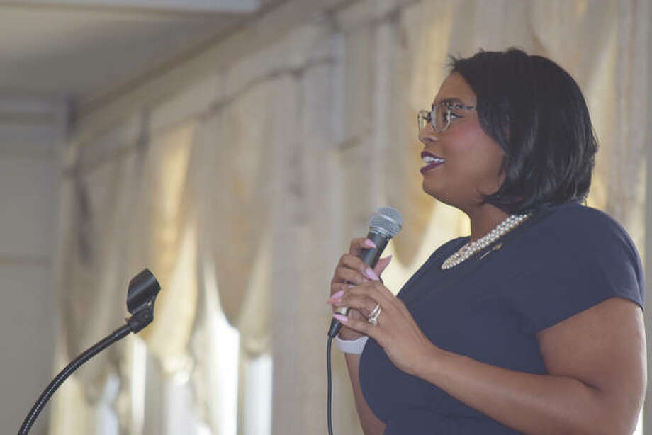 Tiffany Williams-Mathis speaks Monday during the Mayor's Unity Breakfast at Hamilton's Catering. Photo: Samantha McDaniel-Ogletree | Journal-Courier