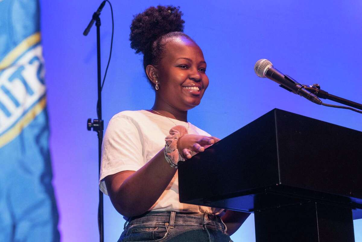 Natalie Esikumo, a member of A Better Chance of Ridgefield, speaks at a celebration of Dr. Martin Luther King on Monday, Jan. 20, 2020 at the Ridgefield Playhouse in Ridgefield, Conn.
