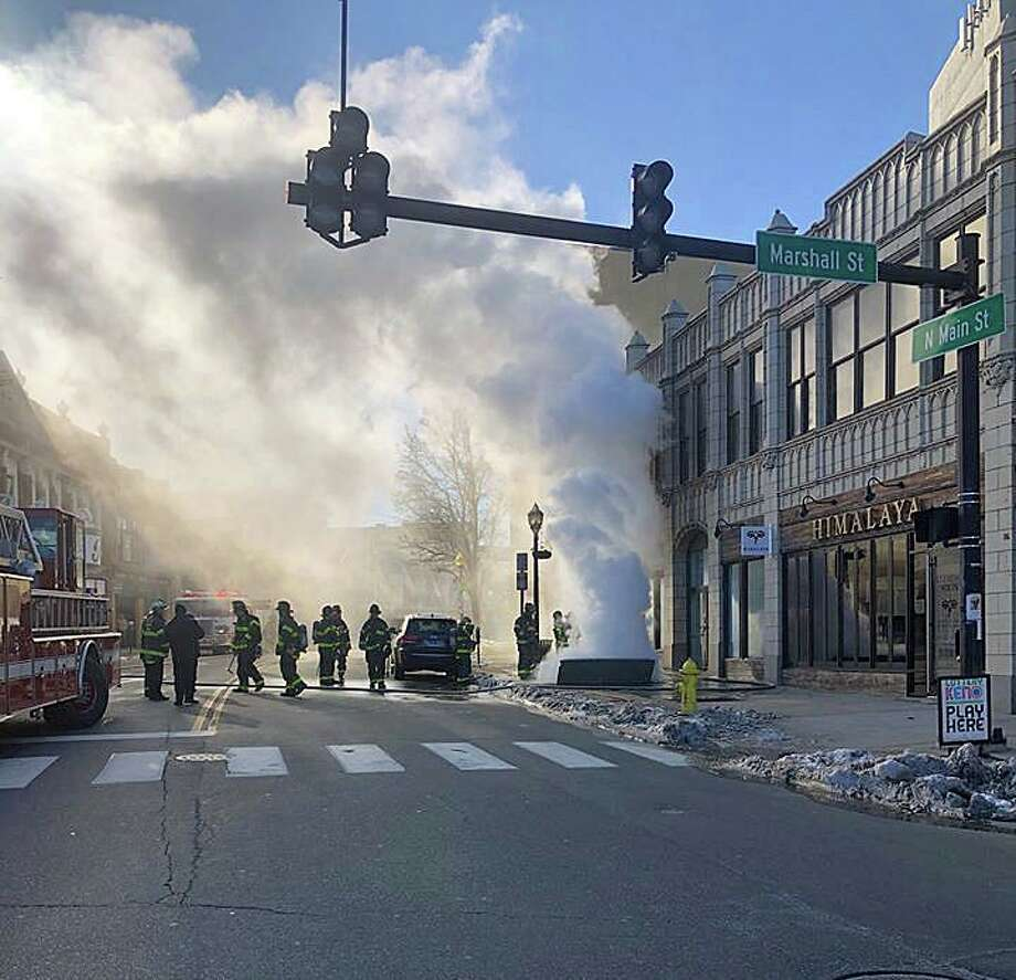 An underground transformer fire has closed North Main Street on Tuesday, Jan. 21, 2020. Photo: Norwalk Police Photo