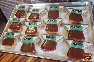 The Baby Yoda donuts run $4.50 and are made with vanilla buttercream and triple chocolate icing.