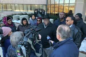 The Rev. Boise Kimber and members of Mubarak Soulemane's family met with state police Commissioner James Rovella Wednesday morning.
