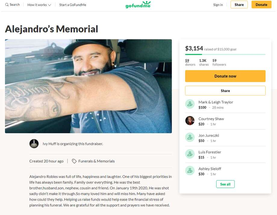 GoFundMe campaigns have been launched to raise money for funeral expenses for Robert Martinez and Alejandro Robles (pictured), the two fatal victims of the Ventura night club shooting which took place Jan. 19 near the museum reach of the San Antonio River Walk. Photo: Screengrab
