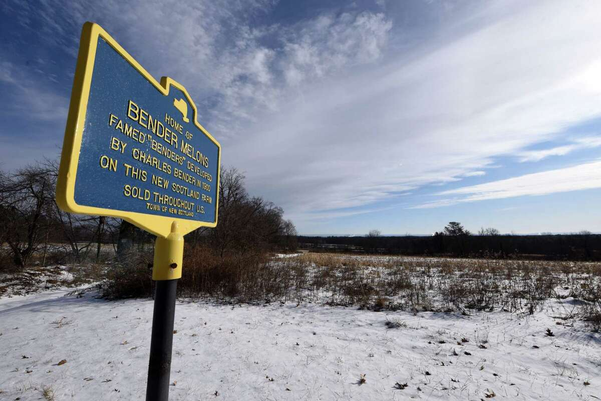 An historic marker is seen at the 198-acre Bender melon farm site on Route 85A in New Scotland, N.Y. (Will Waldron/Times Union)