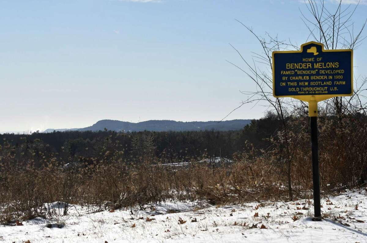 An historic marker is seen at the 198-acre Bender melon farm site on Tuesday, Jan. 21, 2020, on Route 85A in New Scotland, N.Y. (Will Waldron/Times Union)