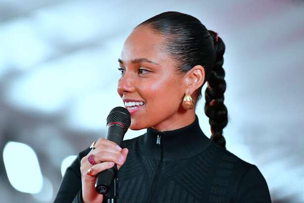 Fifteen-time Grammy winner Alicia Keys Alicia Keys speaks while joined by Neil Portnow, Ken Ehrlich, Chantal Saucedo and Jack Sussman for the unrolling of the Red Carpet on February 7, 2019 in Los Angeles, California for the 61st Grammy Awards to be held here on February 10. (Photo by Frederic J. BROWN / AFP)FREDERIC J. BROWN/AFP/Getty Images