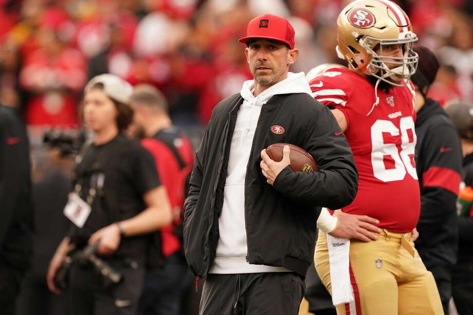 Head coach Kyle Shanahan of the San Francisco 49ers looks on during warm ups prior to their game against the Green Bay Packers in the NFC Championship game at Levi's Stadium on January 19, 2020 in Santa Clara, California. Photo: Thearon W. Henderson/Getty Images
