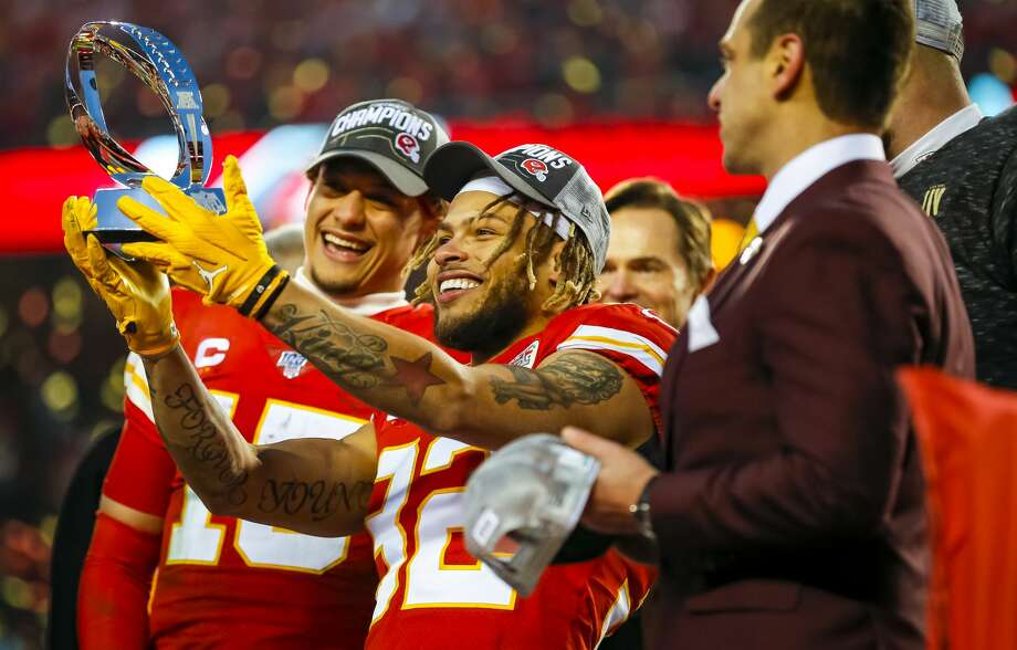 PHOTOS: Former members of the Houston Texans who will be part of this year's Super Bowl Tyrann Mathieu holds up the Lamar Hunt trophy in front of Patrick Mahomes after the Chiefs beat the Tennessee Titans in the AFC Championship Game on Sunday. Mathieu spent last season with the Texans. Browse through the photos above for a look at all the former members of the Houston Texans who will have a role in this year's Super Bowl ... Photo: David Eulitt/Getty Images