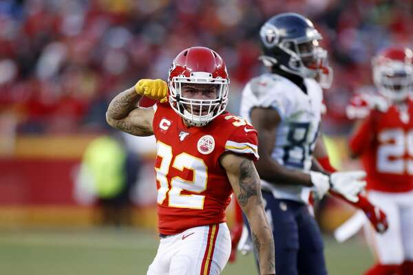 KANSAS CITY, MO - JANUARY 19: Tyrann Mathieu #32 of the Kansas City Chiefs celebrates after a tackle for loss against the Tennessee Titans during the AFC Championship game at Arrowhead Stadium on January 19, 2020 in Kansas City, Missouri. The Chiefs defeated the Titans 35-24. (Photo by Joe Robbins/Getty Images)