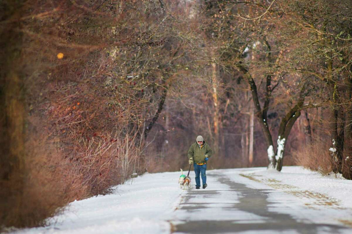 Alan Metz of Brunswick walks his two dogs, Trigger and Patrick on the bike path along the Mohawk River on Tuesday, Jan. 21, 2020, in Niskayuna, N.Y. (Paul Buckowski/Times Union)