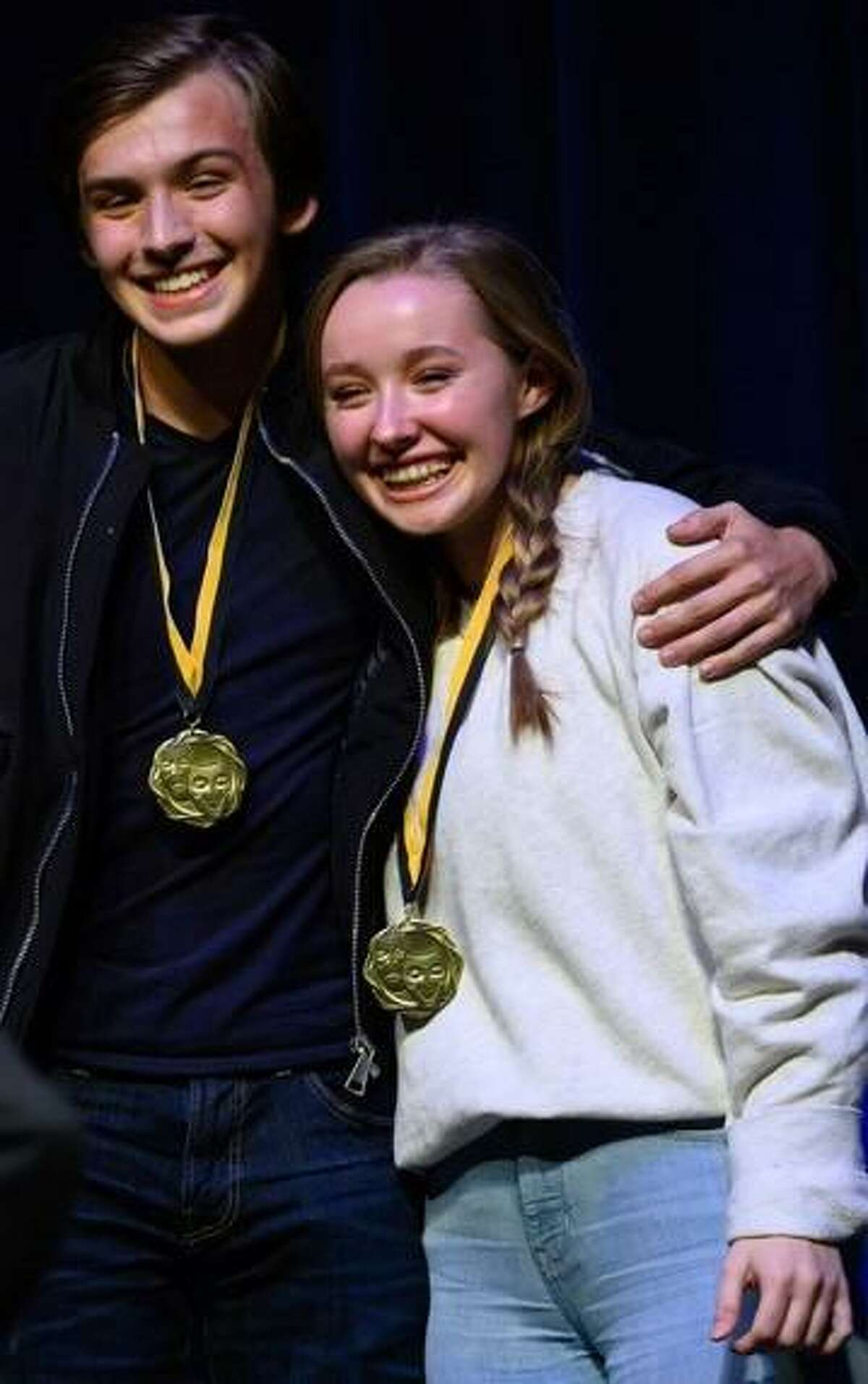 Brennan Vacek and Aedin Waldorf of Fort Bend Christian Academy win Best Actor and Best Actress at the 2019 TAPPS One-Act District competition for their roles in