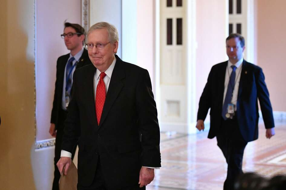 Republican Senate leader Mitch McConnell arrives for the Senate impeachment trial of US President Donald Trump at the US Capitol in Washington, DC, January 21, 2020.