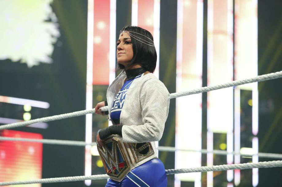 "When WWE holds its ""Royal Rumble"" pay-per-view at 6 p.m. Sunday at Minute Maid Park in Houston, Bayley will defend that title against Lacey Evans. Photo: Courtesy Photo /WWE"