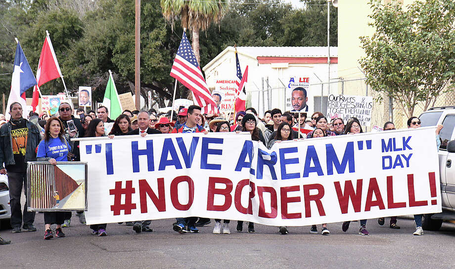 """Marchers took to the streets of downtown Laredo for the Martin Luther King Day """"I Have a Dream"""" #No Border Wall march and rally, Monday, January 20, 2020. Photo: Cuate Santos/Laredo Morning Times"""