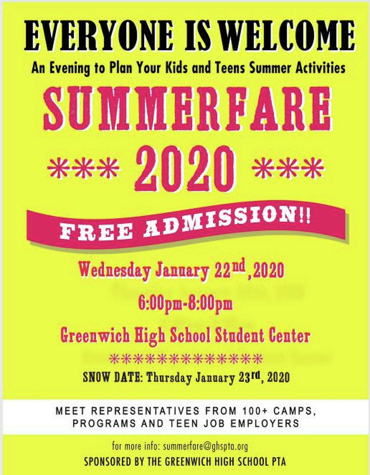 Summerfare is the only event in Greenwich or the surrounding towns that focuses on summer activities, camps and employment for kids and teens, said parent and publicist for GHS Kendra Farn. More than 100 representatives from summer camps, programs and teen employment opportunities.