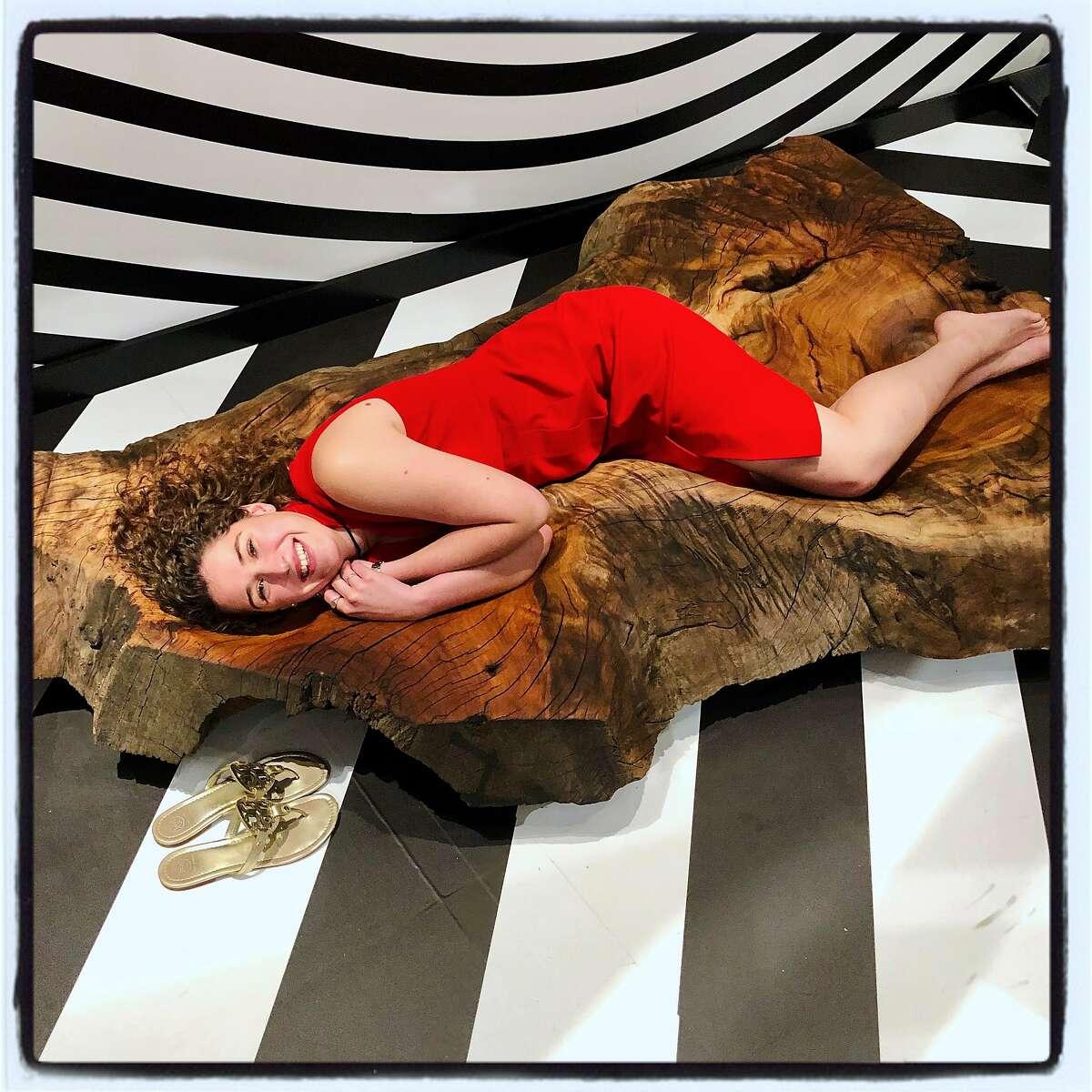"""CCA student Valerie Alt in her """"Human Bowl"""" sculpture at FOG's 21Pop Pavilion. Jan. 15, 2020."""