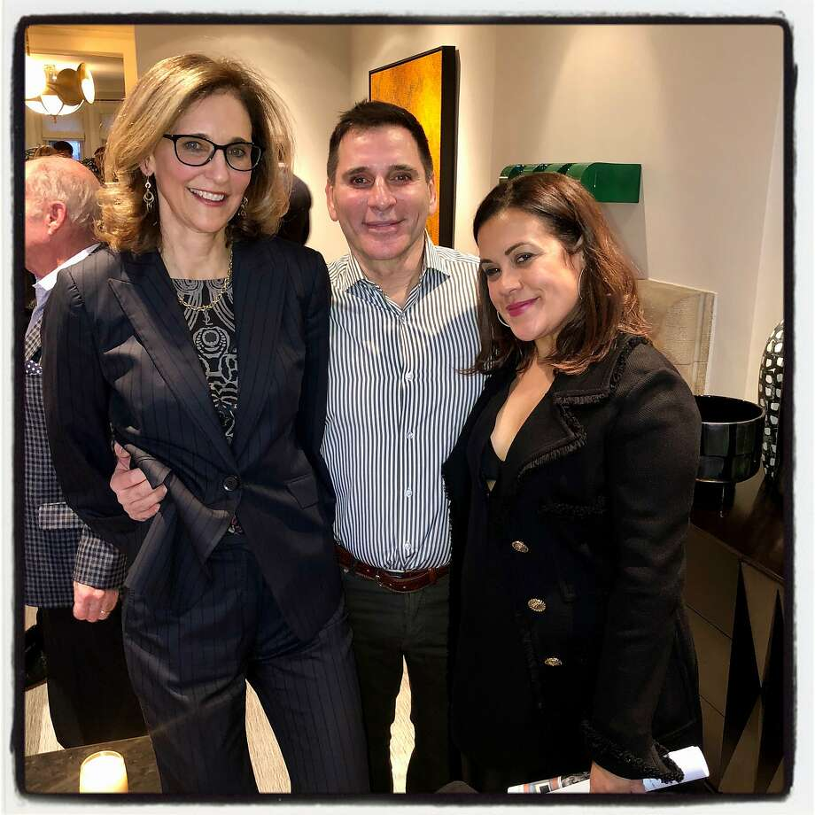 Sotheby's Jennifer Biederbeck (left) with Seth Matarasso and Gabriela Palmieri. Jan. 14, 2020. Photo: Catherine Bigelow / Special To The Chronicle