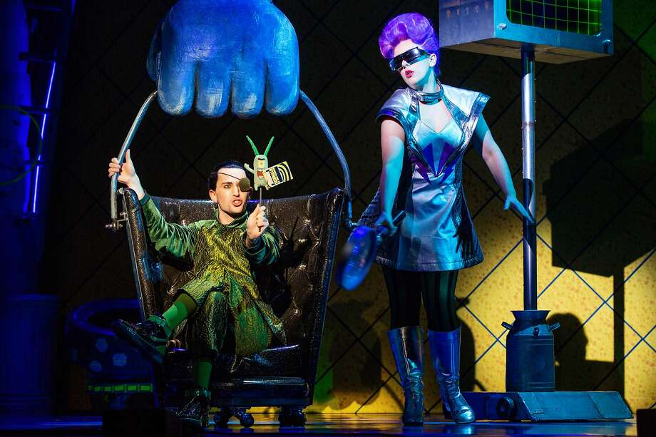 "Tristan McIntyre, from left, plays Sheldon Plankton and Caitlin Ort plays his wife Karen the Computer in ""The SpongeBob Musical,"" which is coming to the Majestic Theatre. Photo: Jeremy Daniel"