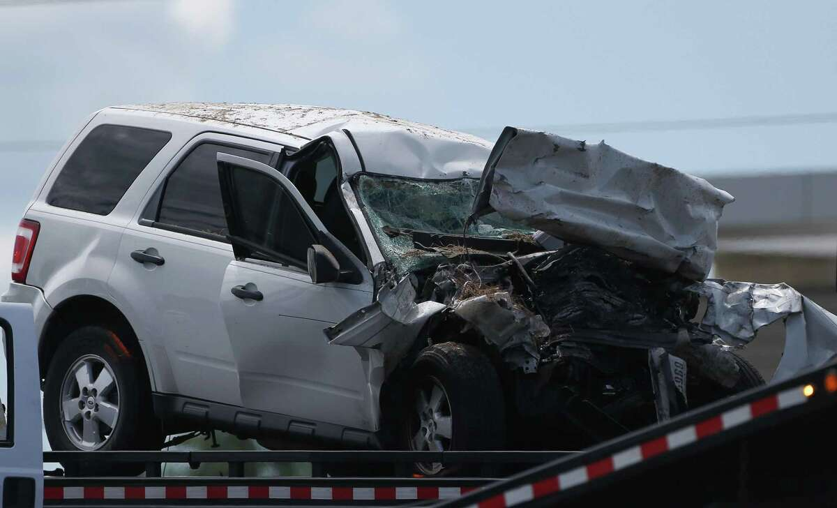 One of the two vehicles involved in a fatal crash at Texas 249 northbound and Northpointe Boulevard sits prior to being towed Sept. 11, in Houston. The crash killed one of the drivers, according to a tweet from Harris County Constable Precinct 4.