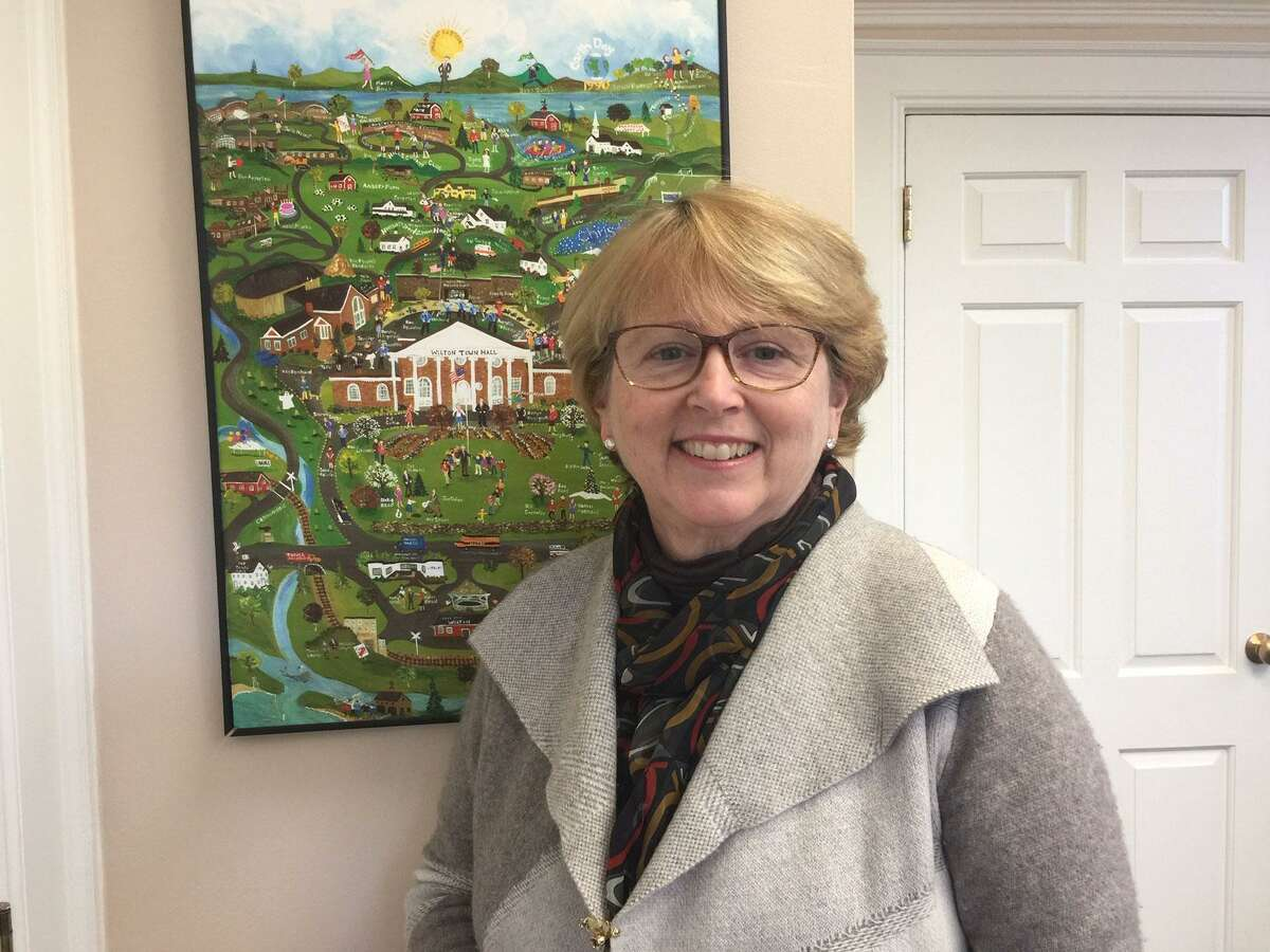Wilton First Selectwoman Lynne Vanderslice presented the proposed 2022 fiscal year budget on March 1.