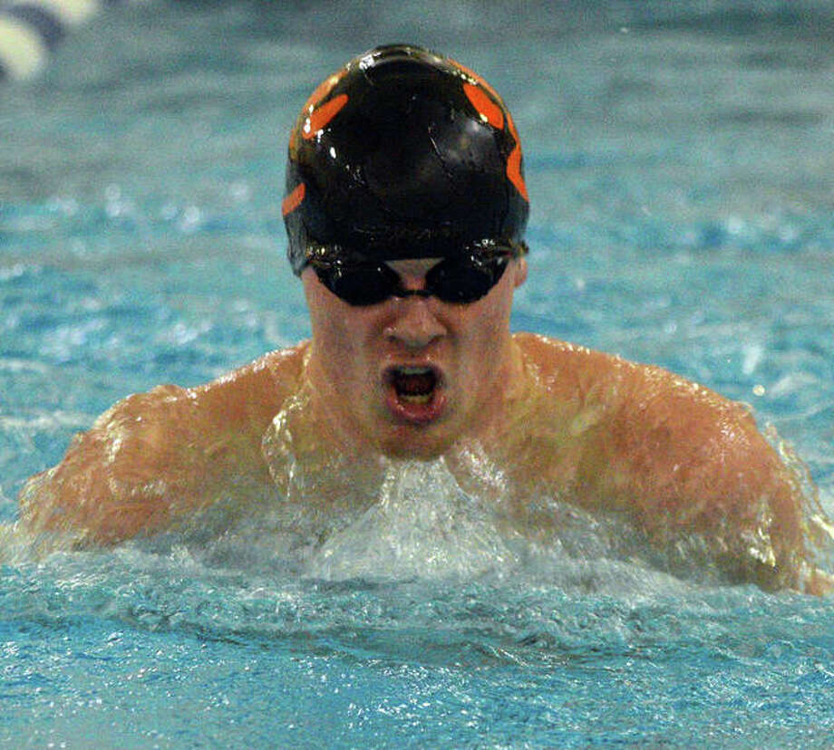 McClain Oertle of Edwardsville posted a first-place finish in the 100-yard breaststroke as well as in the 200 backstroke at the third annual Boys Swim for HOPE meet Monday at the Chuck Fruit Aquatic Center. Photo: Telegraph Photo